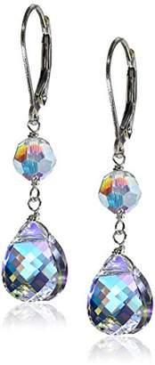 Swarovski Elements Aurora Borealis Briolette with Sterling Silver Lever Backs Drop Earrings