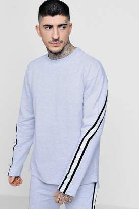 boohoo Drop Shoulder Taped Crew Neck Sweater Co-ord