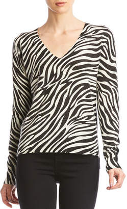Bailey 44 Heidi V-Neck Sweater with Zebra Print Front