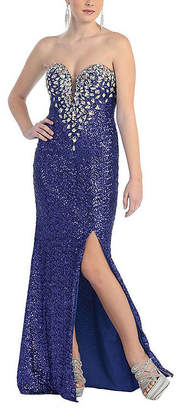 Asstd National Brand Sexy Sweetheart Fully Sequined Long Dress