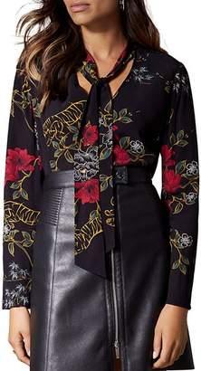 Karen Millen Floral Tiger Tie-Neck Top