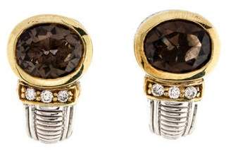 Judith Ripka Smoky Quartz & Diamond Earrings