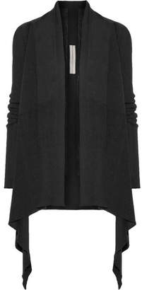Rick Owens - Asymmetric Ribbed Wool Cardigan - Black $570 thestylecure.com