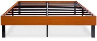 GranRest 14 '' Wood Platform Bed/ Steel Slat support/ Non Slip, Vintage Cherry