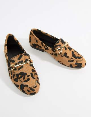 Asos DESIGN Moment leather loafers in leopard print