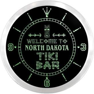Dakota AdvPro Clock ncpm2034-g NORTH Tiki Bar Pub Beer LED Neon Sign Wall Clock