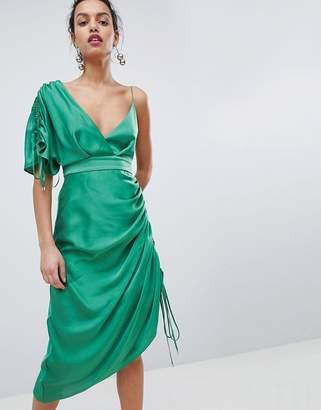 Keepsake asymmetric shoulder midi dress