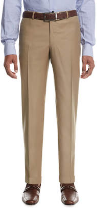 Isaia Aquaspider Wool Dress Pants, Tan