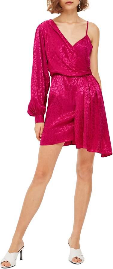 Topshop One-Shoulder Drop Jacquard Dress