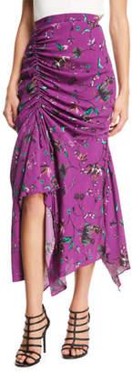 Tanya Taylor Raquel Floral-Print Ruched Handkerchief Midi Skirt