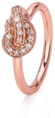 John Greed Rose Stone Set Promise Knot Ring