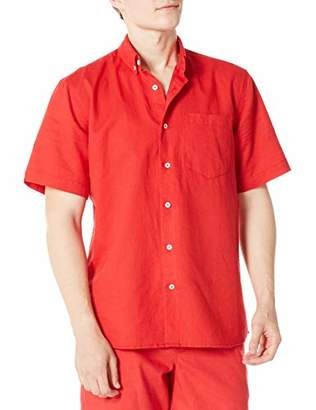 Isle Bay Linens Men's Standard Fit Short Sleeve Solid Linen Cotton Button-Down Shirt