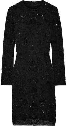 Needle & Thread Monoliet Embellished Chiffon Mini Dress - Black