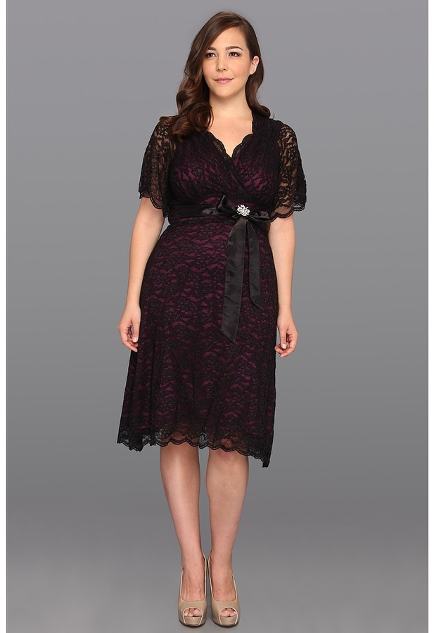 Kiyonna Retro Glam Lace Dress (Purple Lining/Black Lace) - Apparel