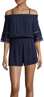 Fire Short-Sleeve Off-the-Shoulder Gauze Romper $52 thestylecure.com