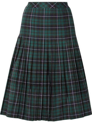 Sandy Liang - Checked Pleated Cotton-canvas Midi Skirt - Navy