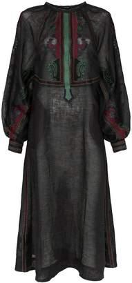 DAY Birger et Mikkelsen Vita Kin Parajanov embroidered button down linen dress