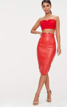 PrettyLittleThing Red Faux Leather Panel Midi Skirt