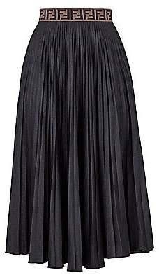 Fendi Women's Techno Jersey Pleated Midi Skirt