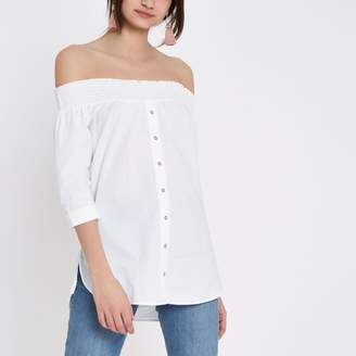 River Island Womens White button front shirred bardot top