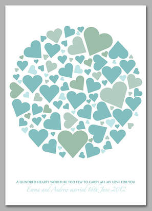 Modo creative Personalised Wedding Hearts Signature Print