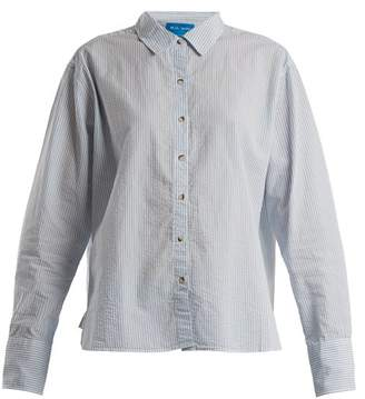 MiH Jeans Mini Oversized Striped Crinkled Cotton Shirt - Womens - Light Blue