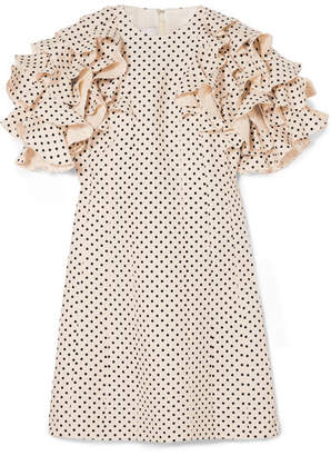Valentino Ruffled Polka-dot Wool And Silk-blend Mini Dress - Cream