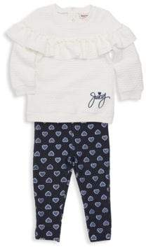 Juicy Couture Baby Girl's Two-Piece Waffle Knit Sweater & Heart Leggings Set