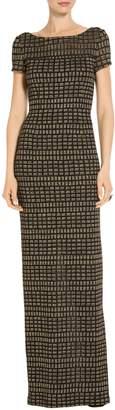 St. John Shimmer Rectangle Jacquard Knit Gown