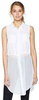 BCBGeneration Women's Drawstring Waist Button Down Tank