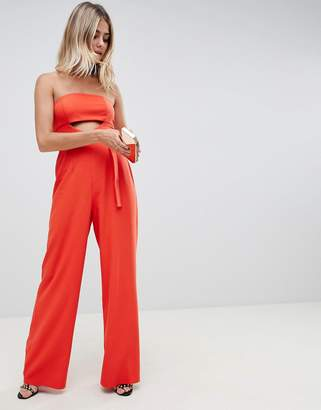 Asos (エイソス) - ASOS DESIGN structured jumpsuit with cut out and belt detail
