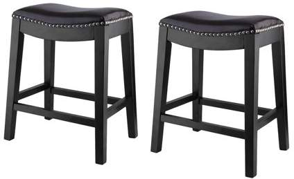 fullofhappy Set of 2 Leather Counter-Height Saddle Stools with Nail Head Accents and Espresso Finished Legs, 25-Inch