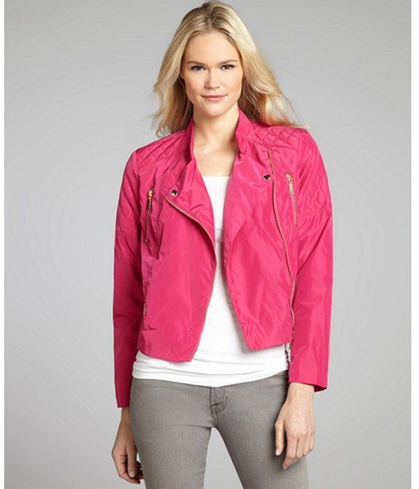 Ellen Tracy dahlia quilted nylon bomber jacket