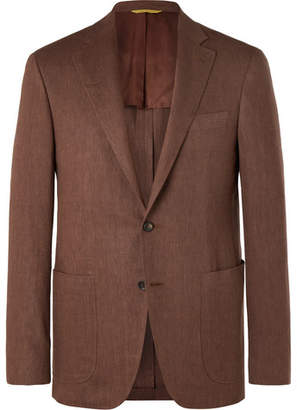 Canali Brown Exclusivvo Slim-Fit Linen And Wool-Blend Suit Jacket