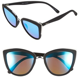 Women's Quay Australia 'My Girl' 50Mm Cat Eye Sunglasses - Black/ Blue Mirror $55 thestylecure.com