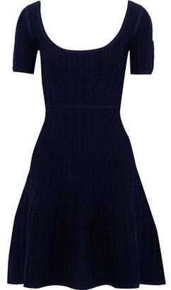 Herve Leger Flared Cloque-knit Mini Dress