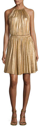 Halston Metallic Jersey Racerback Cocktail Dress
