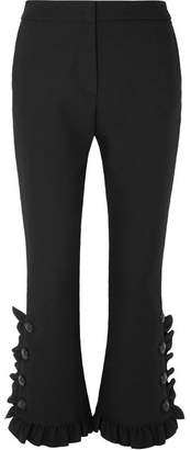 MSGM Ruffled Crepe Slim-leg Pants - Black
