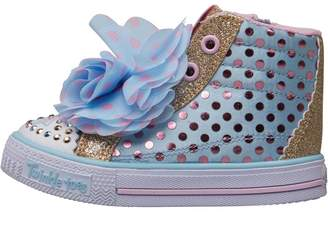 Skechers Infant Girls Twinkle Toes Shuffles Flower Fun Hi Tops Light Blue/Pink