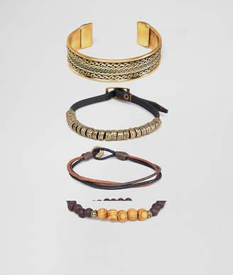 Asos DESIGN bracelet and bangle pack in burnished gold