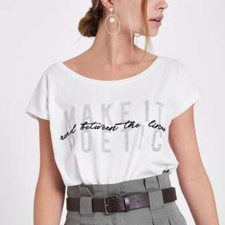 River Island Womens Petite white 'make it poetic' print T-shirt