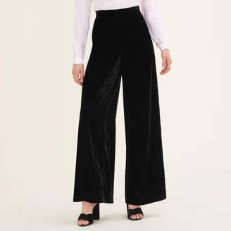 Maje Wide-leg velvet trousers