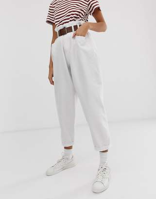 Asos Design DESIGN Oversized tapered boyfriend jeans with curved seams in optic white with belted paper bag waist detail