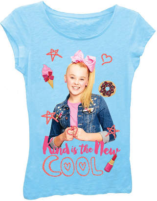Asstd National Brand JoJo Siwa Girls' Kind is the New Cool Short Sleeve Graphic T-Shirt with Pink Glitter