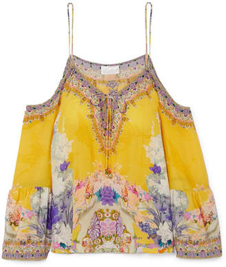 Camilla Cold-shoulder Embellished Printed Silk Crepe De Chine Top - Yellow