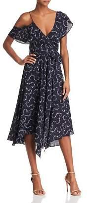 LIKELY Leilani Ruffled Botanical Print Wrap Dress