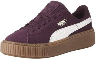 Puma Girl's Suede Platform SNK Jr Sneakers, Dark Purple/Marshmallow