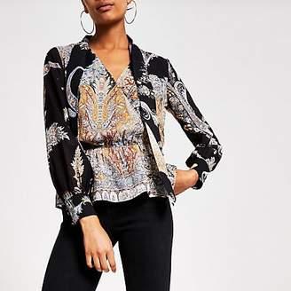 River Island Black printed tie neck sheer sleeve blouse