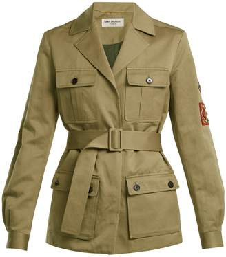 Cargo-pocket belted military jacket