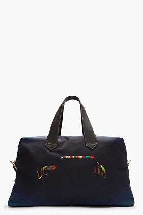 Paul Smith Oversize Black & Navy Mini Cooper Leather Trimmed Duffle Bag
